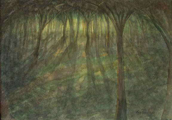 forest at dawn painting watercolor art