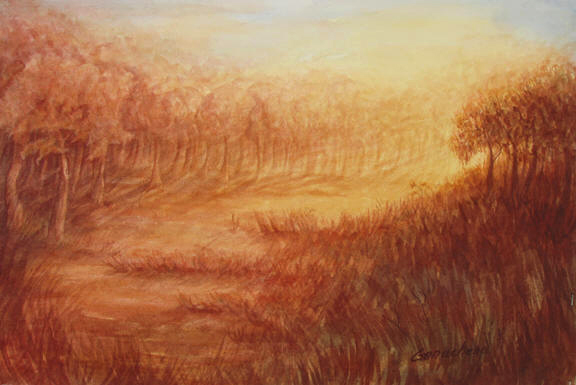 Hudson's Inspiration landscape painting of a forest in a golden fog watercolor art