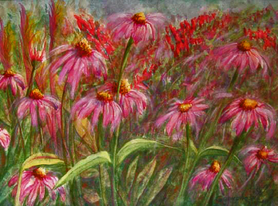 echinacea original art watercolor painting purple cone flowers