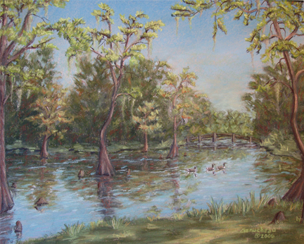Greenfield Lake, pastel art painting of cypress trees in Greenfield Lake Wilmington, NC
