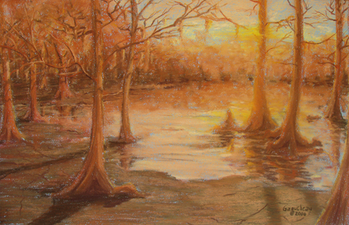 Greenfield Lake, Pastel original art painting of Foggy sunrise at Greenfield Lake in Wilmington, NC
