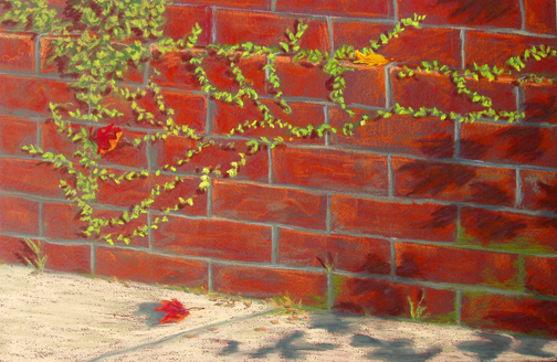 Downtown Wilmington, NC, pastel art painting paintings of green lacy vines on a red brick wall
