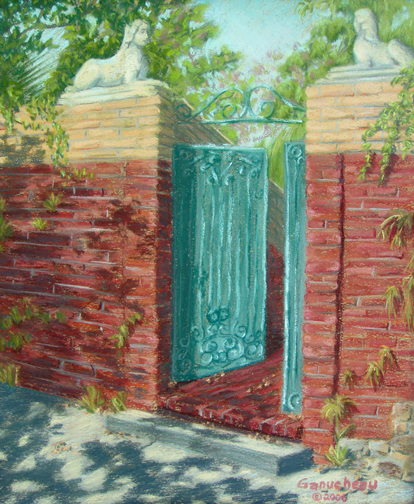 pastel painting of a garden gate in downtown Wilmington, NC