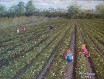 pastel art painting paintings strawberry farm