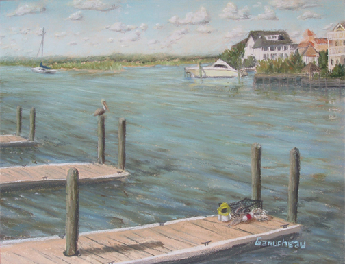 Wrightsville Beach, original art, pastel painting of Bank's Channel facing Harbor island, Wrightsville Beach NC: Island Harbor
