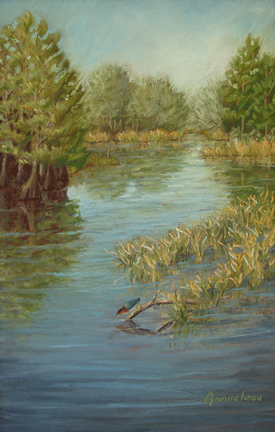 Still Water, Lake art painting Pastel pleine-aire Senior Center Wilmington, NC