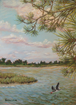 The road to beaufort, NC, original art, pastel painting of the view from Duke marine center on Pivers Island