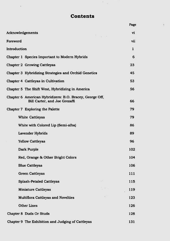 Table of contents for American Cattleyas