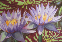 waterlily waterlilies art watercolor painting purpla and gold