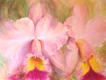 Orchid Exotica: cattleya orchid art watercolor painting of BLC George King