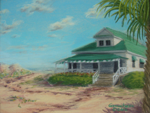 Beach Haven, Carolina Style, Pastel painting of the  Wrightsville Beach Museum cottage, NC