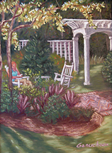 filtered light pastel garden painting in Demarest Landing