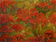 Painting of fiery orange kalanchoe